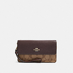 COACH F87867 Foldover Wristlet In Signature Canvas IM/KHAKI MULTI