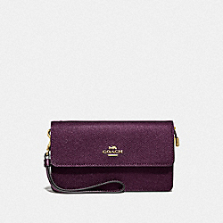 COACH F87868 Foldover Wristlet IM/DARK BERRY/METALLIC BERRY