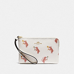 COACH F87875 Corner Zip Wristlet With Party Pig Print IM/CHALK MULTI
