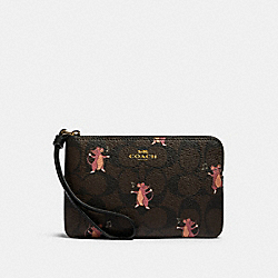 COACH F87876 Corner Zip Wristlet In Signature Canvas With Party Mouse Print IM/BROWN PINK MULTI