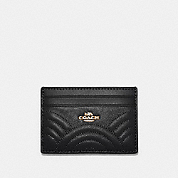 COACH F87883 Card Case With Art Deco Quilting IM/BLACK