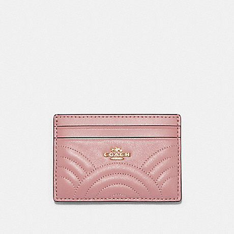 COACH F87883 CARD CASE WITH ART DECO QUILTING IM/PINK