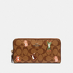 COACH F87885 - ACCORDION ZIP WALLET IN SIGNATURE CANVAS WITH PARTY ANIMALS PRINT IM/KHAKI PINK MULTI