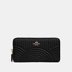 COACH F87888 Accordion Zip Wallet With Art Deco Quilting IM/BLACK