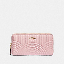 COACH F87888 Accordion Zip Wallet With Art Deco Quilting IM/PINK