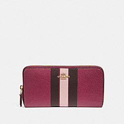 COACH F87889 - ACCORDION ZIP WALLET WITH VARSITY STRIPE IM/DARK BERRY MULTI