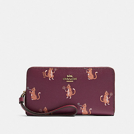 COACH F87891 LARGE PHONE WALLET WITH PARTY CAT PRINT IM/DARK-BERRY-MULTI