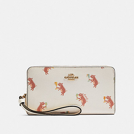 COACH F87892 LARGE PHONE WALLET WITH PARTY PIG PRINT IM/CHALK-MULTI