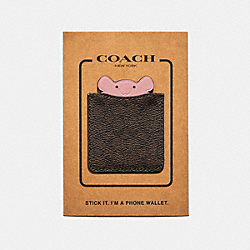 PHONE POCKET STICKER IN SIGNATURE CANVAS WITH PARTY MOUSE - F87906 - CHESTNUT/PINK