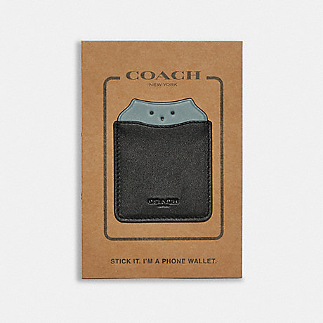 COACH PHONE POCKET STICKER WITH PARTY OWL - BLACK/SAGE - F87907