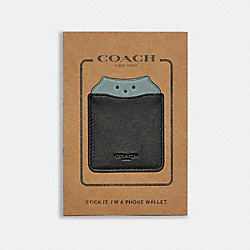 COACH F87907 Phone Pocket Sticker With Party Owl BLACK/SAGE