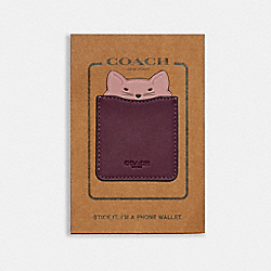 COACH F87908 - PHONE POCKET STICKER WITH PARTY CAT DARK BERRY/PINK