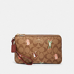 COACH F87910 Double Zip Wallet In Signature Canvas With Party Animals Print IM/KHAKI PINK MULTI