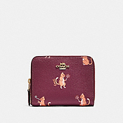 COACH F87915 Small Zip Around Wallet With Party Cat Print IM/DARK BERRY MULTI