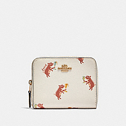 COACH F87916 - SMALL ZIP AROUND WALLET WITH PARTY PIG PRINT IM/CHALK MULTI