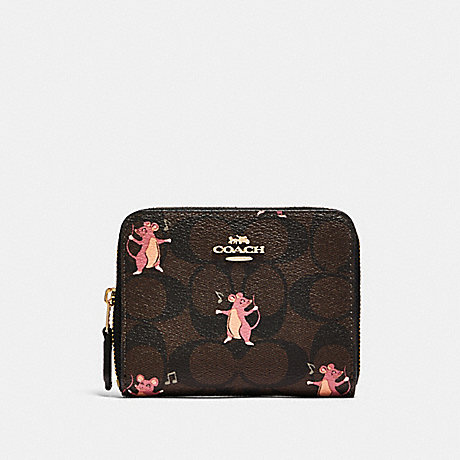 COACH F87917 SMALL ZIP AROUND WALLET IN SIGNATURE CANVAS WITH PARTY MOUSE PRINT IM/BROWN PINK MULTI