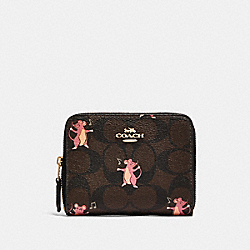 COACH F87917 - SMALL ZIP AROUND WALLET IN SIGNATURE CANVAS WITH PARTY MOUSE PRINT IM/BROWN PINK MULTI