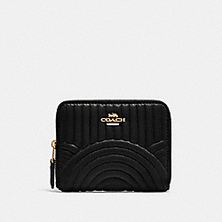 COACH F87920 Small Zip Around Wallet With Art Deco Quilting IM/BLACK