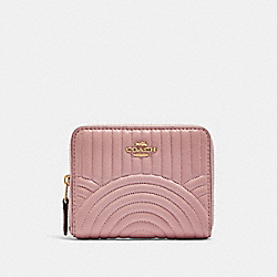 COACH F87920 Small Zip Around Wallet With Art Deco Quilting IM/PINK