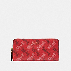 COACH F87926 Slim Accordion Zip Wallet With Horse And Carriage Print IM/BRIGHT RED/CHERRY MULTI