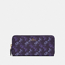 COACH F87926 Slim Accordion Zip Wallet With Horse And Carriage Print IM/DARK PURPLE/LAVENDAR MULTI