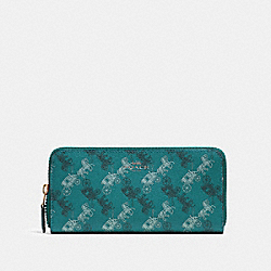 COACH F87926 Slim Accordion Zip Wallet With Horse And Carriage Print QB/VIRIDIAN SAGE MULTI