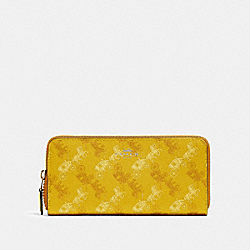 COACH F87926 - SLIM ACCORDION ZIP WALLET WITH HORSE AND CARRIAGE PRINT SV/YELLOW MULTI