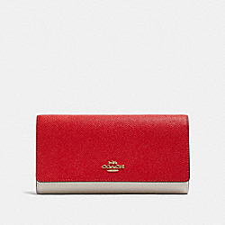 COACH F87932 Trifold Wallet In Colorblock IM/BRIGHT RED MULTI