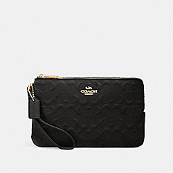 COACH F87934 - DOUBLE ZIP WALLET IN SIGNATURE LEATHER IM/BLACK