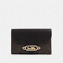 COACH F87935 Jade Medium Envelope Wallet In Signature Canvas IM/BROWN BLACK