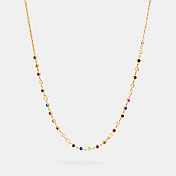 SIGNATURE MULTI STONE TENNIS NECKLACE - F87945 - GD/MULTI