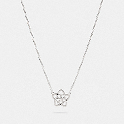 SIGNATURE FLORAL PENDANT NECKLACE - F87953 - SV/CLEAR