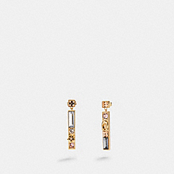 CRYSTAL BAR DROP EARRINGS - F87963 - GD/MULTI