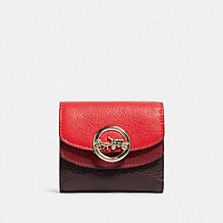 COACH F88002 - JADE SMALL DOUBLE FLAP WALLET IN COLORBLOCK IM/BRIGHT RED MULTI
