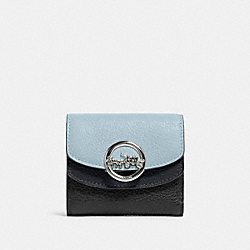 COACH F88002 Jade Small Double Flap Wallet In Colorblock SV/PALE BLUE MULTI