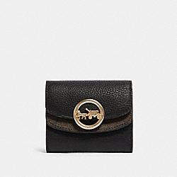 COACH F88003 - JADE SMALL DOUBLE FLAP WALLET WITH SIGNATURE CANVAS DETAIL IM/BROWN/BLACK