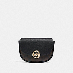 JADE MINI BELT BAG IN SIGNATURE CANVAS - F88007 - IM/BROWN BLACK