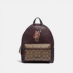 COACH F88014 Star Wars X Coach Medium Charlie Backpack In Signature Canvas With Ewok QB/OXBLOOD MULTI