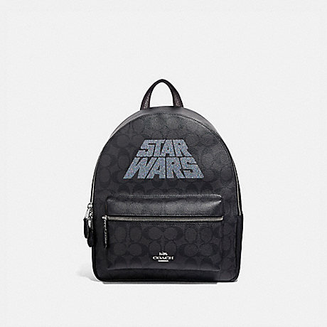 COACH F88015 STAR WARS X COACH MEDIUM CHARLIE BACKPACK IN SIGNATURE CANVAS WITH MOTIF SV/BLACK-SMOKE/BLACK-MULTI