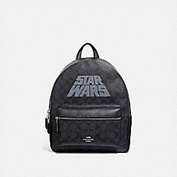 COACH F88015 Star Wars X Coach Medium Charlie Backpack In Signature Canvas With Motif SV/BLACK SMOKE/BLACK MULTI