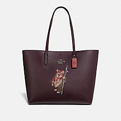 COACH F88017 - STAR WARS X COACH TOWN TOTE WITH EWOK QB/OXBLOOD MULTI