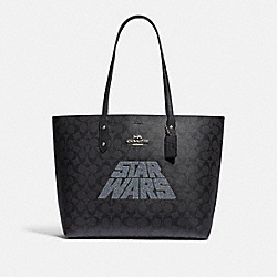 COACH F88019 Star Wars X Coach Town Tote In Signature Canvas With Motif SV/BLACK SMOKE/BLACK MULTI
