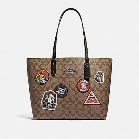 COACH F88020 STAR WARS X COACH TOWN TOTE IN SIGNATURE CANVAS WITH PATCHES QB/KHAKI-MULTI