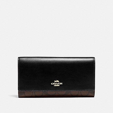 COACH F88024 TRIFOLD WALLET IN SIGNATURE CANVAS IM/BROWN/BLACK