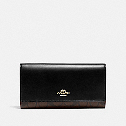 COACH F88024 - TRIFOLD WALLET IN SIGNATURE CANVAS IM/BROWN/BLACK