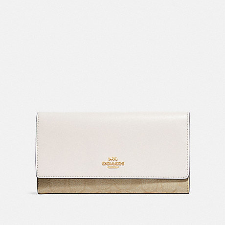 COACH F88024 TRIFOLD WALLET IN SIGNATURE CANVAS IM/LIGHT KHAKI/CHALK