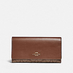 COACH F88024 Trifold Wallet In Signature Canvas IM/KHAKI/SADDLE 2