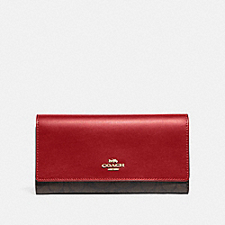 COACH F88024 Trifold Wallet In Signature Canvas IM/BROWN TRUE RED