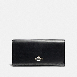 COACH F88024 Trifold Wallet In Signature Canvas SV/BLACK SMOKE/BLACK