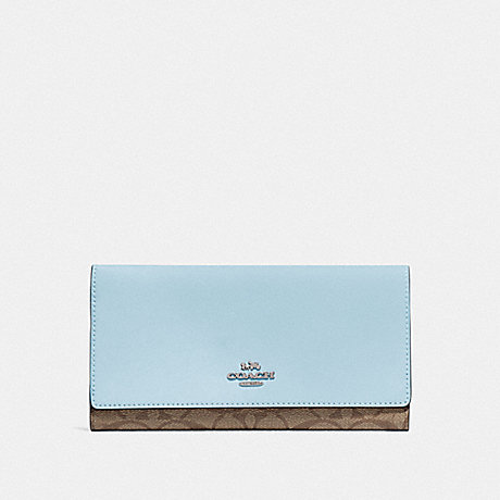 COACH F88024 TRIFOLD WALLET IN SIGNATURE CANVAS SV/KHAKI PALE BLUE